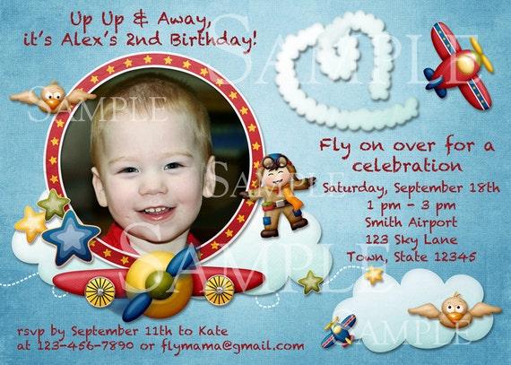 Airplane theme Birthday Invitation or Birth Announcement - you print - custom design