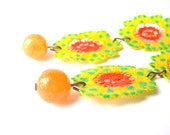 Yellow Lace Copper Earrings with Green Dots, Reserved for Tiffany