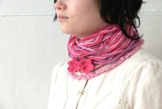 Lacy Romantic Crocheted Infinity Necklace Scarf, Neckwarmer with Fringes. For 4 seasons. Wearable Fiber Art Jewelry.