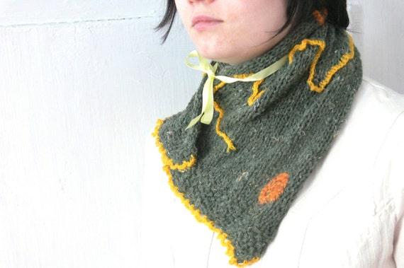 Crocheted Sunrays in the Scarf, Green Neckwarmer, Knitted Green and Yellow Scarf, Neckpiece with Ribbons