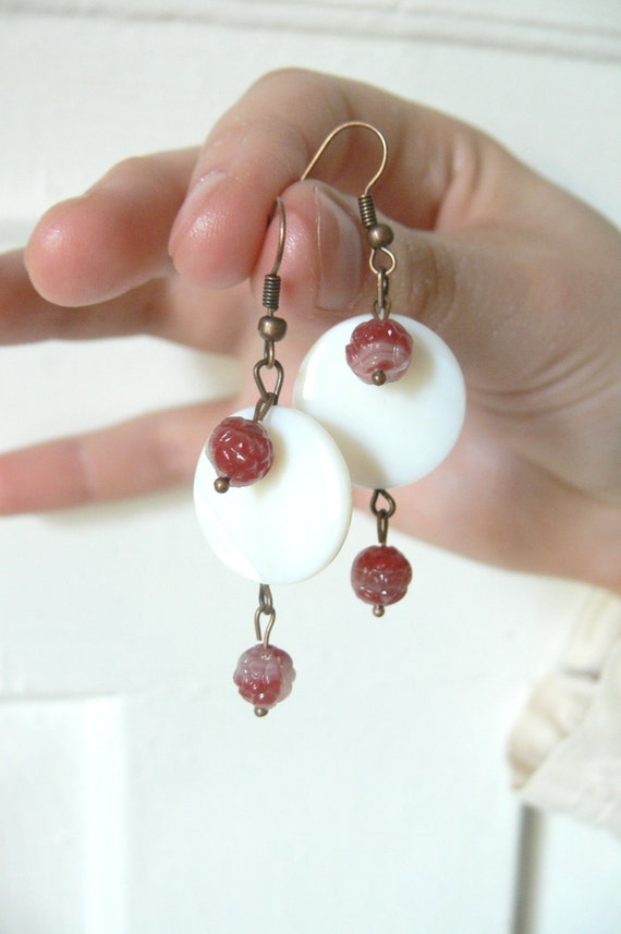 White Mother of Pearl and Pink Rose Bead Long Dangle Copper Earrings