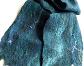Wool Felted Scarf blue indigo teal turquoise silk