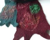 Nuno Felted Scarf burgundy petrol sari silk wool