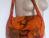 Orange Felted Bag - shoulder bag - sheep - pumpkin gold