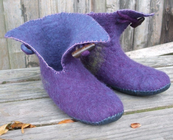 Felted Slipper Boots wet felted wool ladies