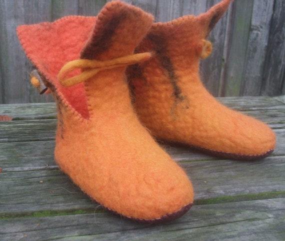 Felted Slipper Boots Pumpkin wet felted wool ladies