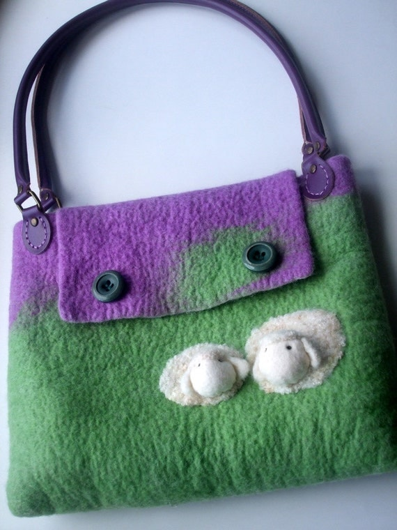 Felted Bag sheep purple and green wool wet felted