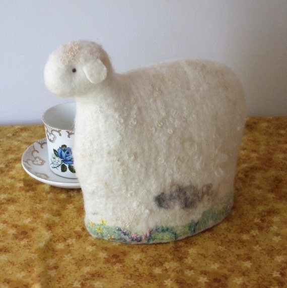 Felted Tea cozy lamb teapot cosy soft white hand embroidered flowers