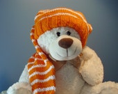 Long Stocking Cap, Orange and White Long Floppy Knit Hat  READY TO SHIP