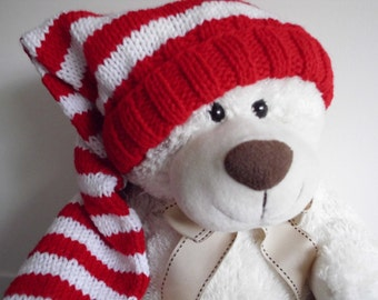 Long Stocking Cap, Red and White, Adult, Kids, Christmas Hat, Tassel or PomPom Option, KNIT to Order