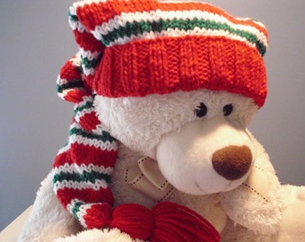 Long Christmas Stocking Cap,  Red White Green Long Floppy Knit Hat  31 inch Long, Ready to Ship