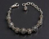 sterling silver Bali beads adjustable bracelet