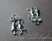 Silver First Kiss Silhouette Charms with Rhinestones... 4pcs