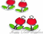 Sweet Red Tulips Enamel Charms with Rhinestones... 4pcs