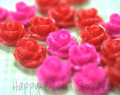 20pcs... Mini Resin Rose Cabochons in Hot Pink and Red.