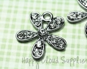 Daisy Flower Rhinestone Charms... 2pcs
