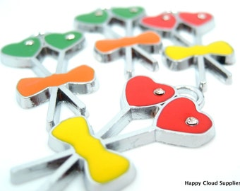 Destash Sale... Heart-shaped Lollipop Enamel Charms... 4pcs