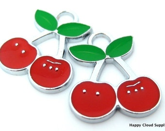 Cherry Enamel Charms... 4pcs