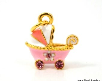 Sweet Pink and White Baby Carriage Enamel Charm with Rhinestones