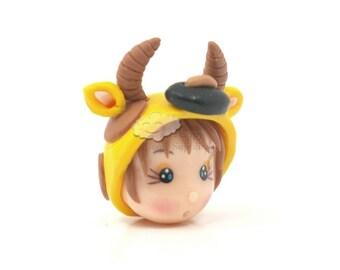 Taurus Polymer Clay Doll Head Bead