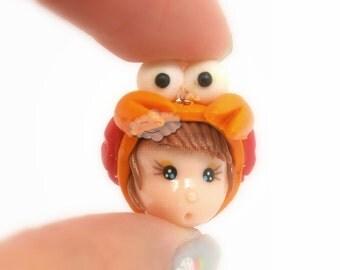 Cancer Polymer Clay Doll Head Bead