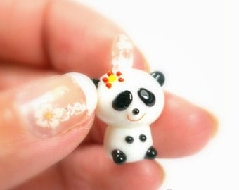 Lampwork Glass Girl Panda Charm... 2pcs