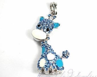 3D Light Blue Giraffe Rhinestone and Enamel Pendant
