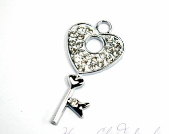 Silver and Clear Rhinestone Key to the Castle Charm... 4pcs