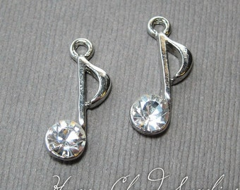 Bling Bling Music Eighth Note Rhinestone Charms... 2pcs
