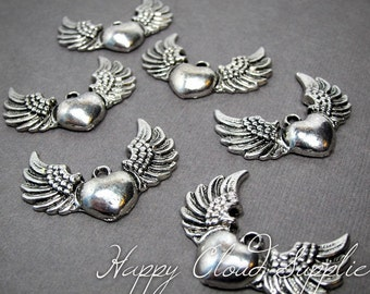 Antique Silver Puffy Hearts on Wings Charms... 6pcs