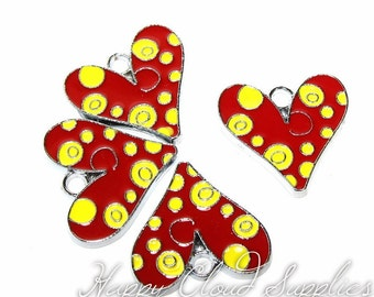 Cheesy Heart Enamel Charms - Package of 4