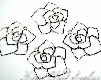 Big Bright Silver Rose Flower Filigree Charms... 4pcs