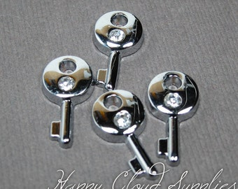 Little Key Charms with Rhinestones in Bright Silver Chrome Finish... 6pcs