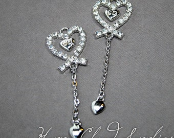Destash Sale... Long and Elegant Silver Heart Pendants with Rhinestones... 4pcs