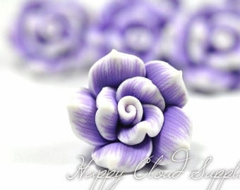Purple and White Roses Polymer Clay Beads... 4pcs