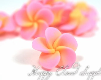 Little Pink and Peach Polymer Clay Plumeria Frangipani Flowers... 4pcs