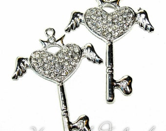 Silver and Clear Rhinestone Heart with Wings and Crown Key Charms... 2pcs
