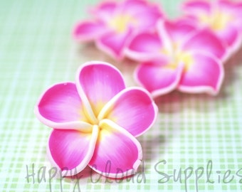Large Pink White and Yellow Polymer Clay Plumeria Frangipani Flowers... 4pcs