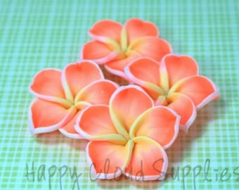 4pcs... Large Almost Neon Orange Polymer Clay Plumeria Frangipani Flower Beads