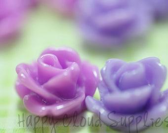 Mini Resin Rose Cabochons in Magenta and Lavender... 20pcs