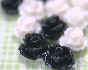 20pcs... Mini Resin Rose Cabochons in Black and White