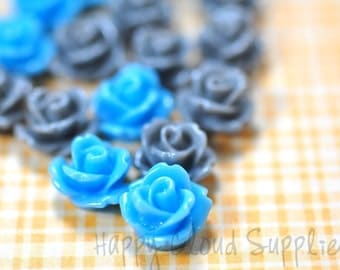 20pcs... Mini Resin Rose Cabochons in Winter Blues and Gary