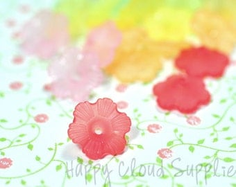 Small Acrylic Flower Beads... 30pcs... Pick your colors