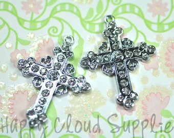 Fancy cross rhinestone charms 2pcs