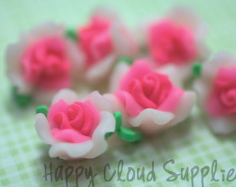 Polymer Clay White and Pink Rose Beads... 6pcs