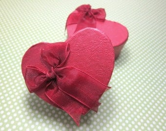 Red Heart Shaped Jewelry Cardboard Box with Organza Bow... 6pcs