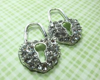 Big Heart-shaped Lock Charms with Key Holes... 4pcs