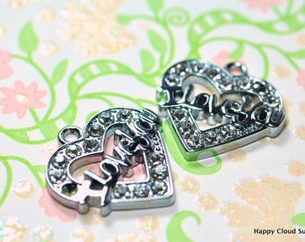 I Love You Heart Rhinestone Charm... 2pcs