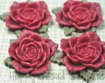 Big Red Resin Rose Cabochons... 4pcs