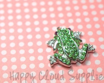 Bright Green Rhinestone Frog Charm Pendant